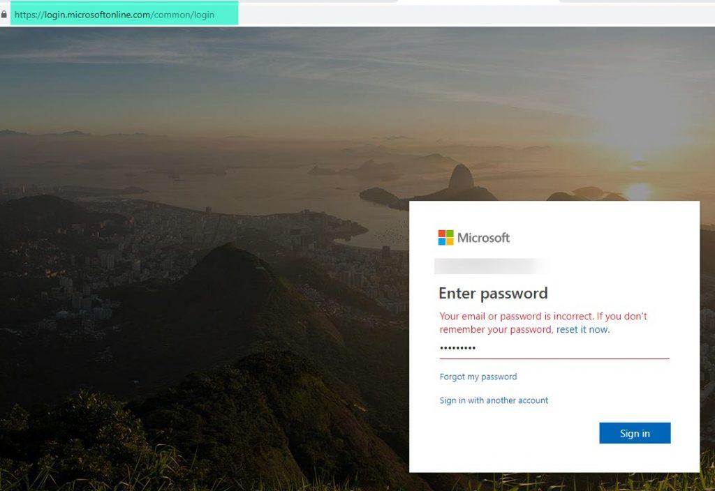 Incorrect Password Phishing Attack